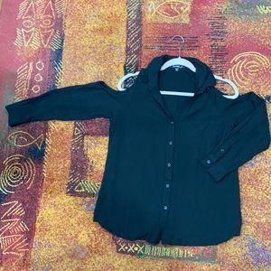Velvet Heart black shoulder cut out button down